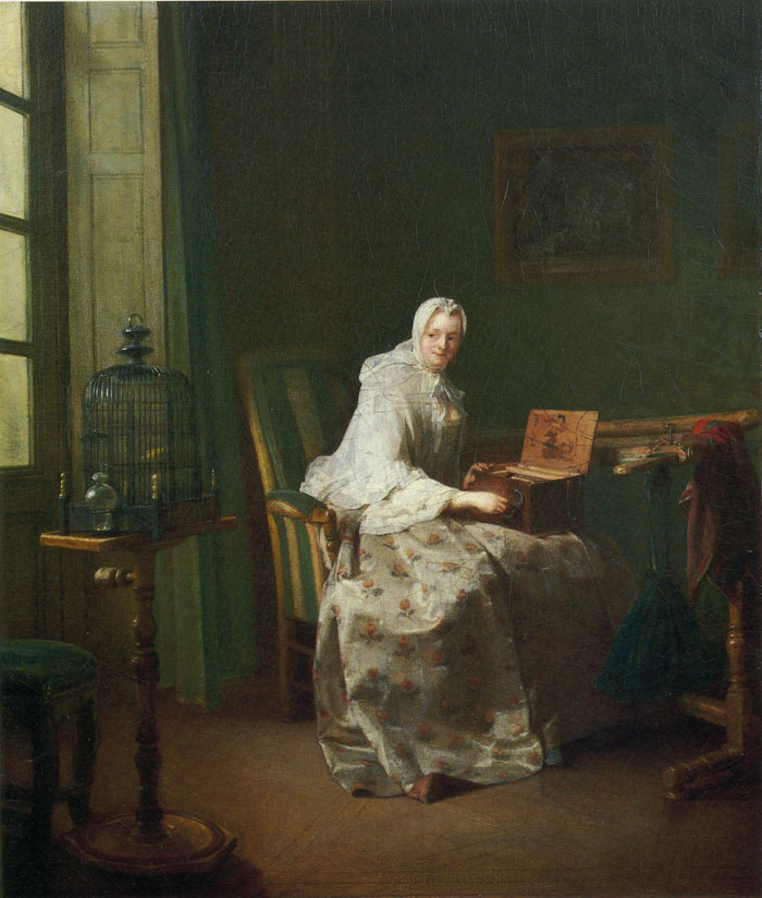 Paintings Reproductions Chardin, Jean- Baptiste Simeon Lady with a Bird-Organ, 1753