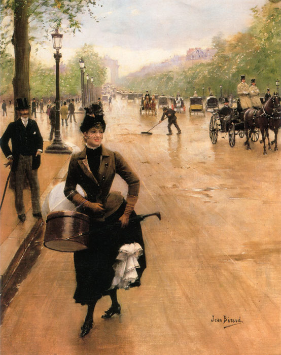 Jean Beraud Reproductions- The Milliner on the Champs Elysees.