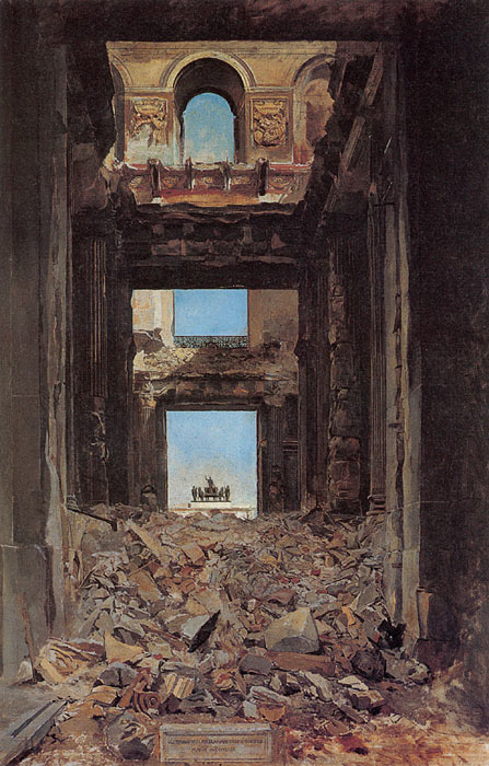 Paintings Reproductions Meissonier, Jean- Louis The Ruins of the Tuileries Palace after the Commune of 1871, 1877
