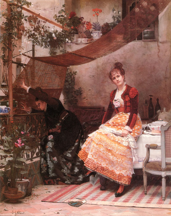 Jehan Georges Vibert Reproductions-Viendra T il ? [Why Comes He Not ?]