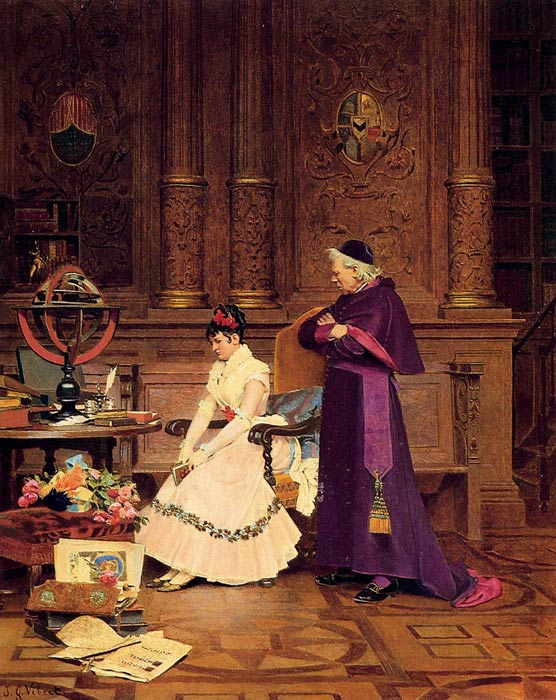 Jehan Georges Vibert Reproductions-The Reprimand
