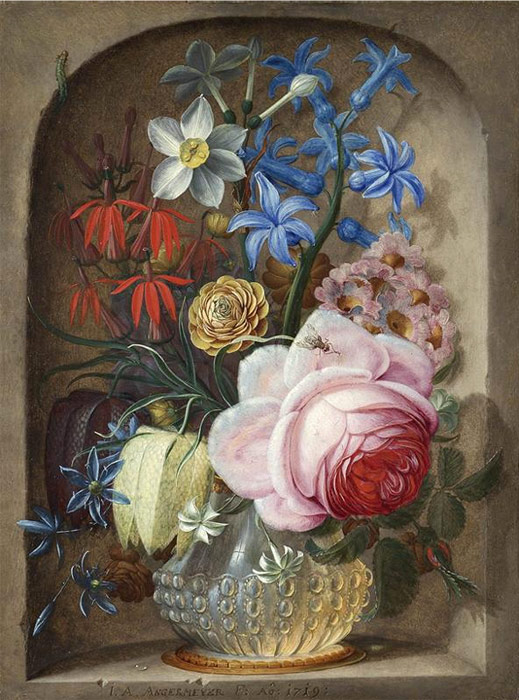 Paintings Reproductions Angermeyer, Johann Adalbert Flowers in a vase in a stone niche, 1719