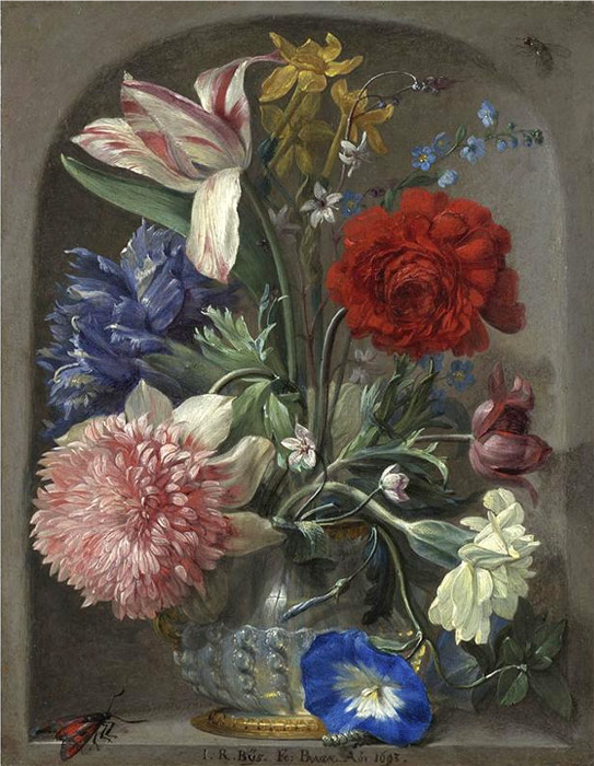Paintings Reproductions Angermeyer, Johann Adalbert Flowers in a vase in a stone niche 2,  1719
