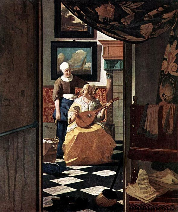 Johannes Vermeer Reproductions-The Love Letter, c.1667-1668