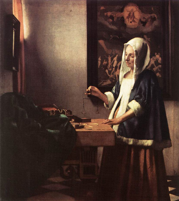 Johannes Vermeer Reproductions-Woman Holding a Balance, 1662-1663