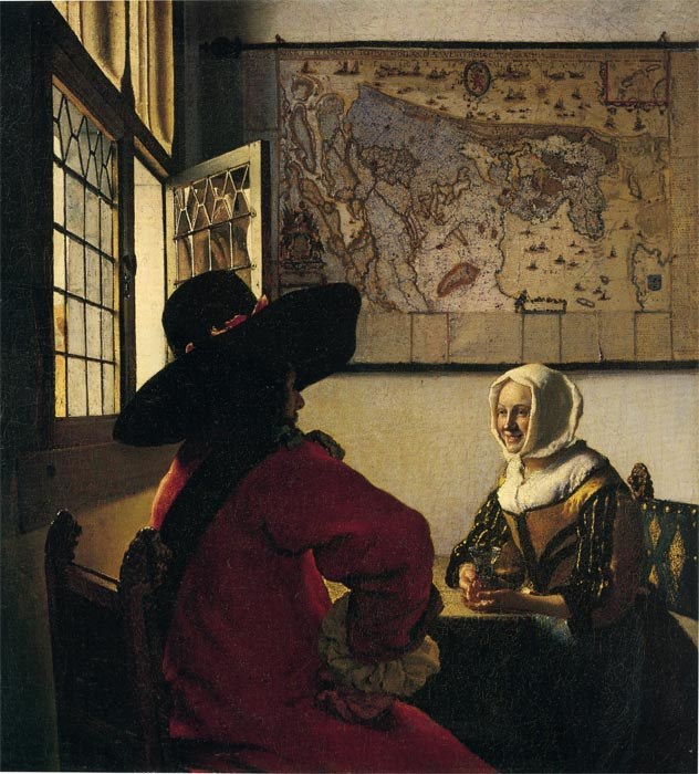 Paintings Reproductions Vermeer, Johannes Officer and Laughing Girl, 1660