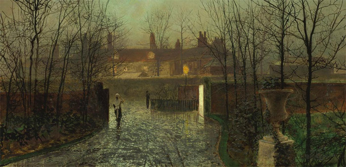 John Atkinson Grimshaw Reproductions-Arriving at the Hall, 1878