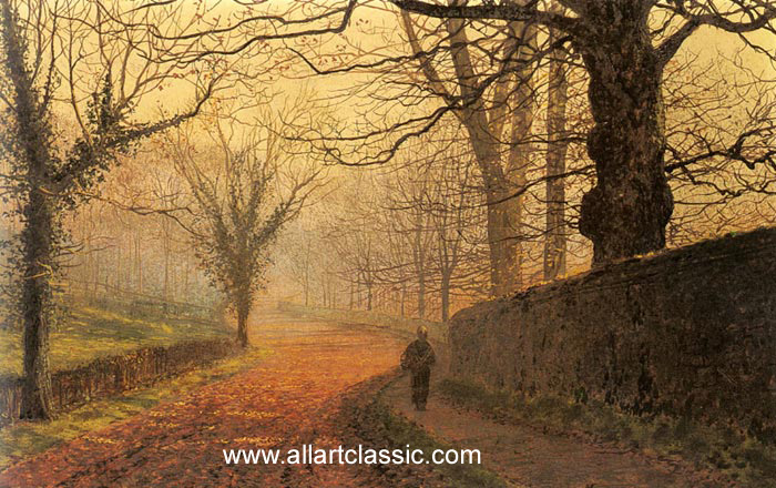 John Atkinson Grimshaw Reproductions-November Afternoon, Stapleton Park, 1877