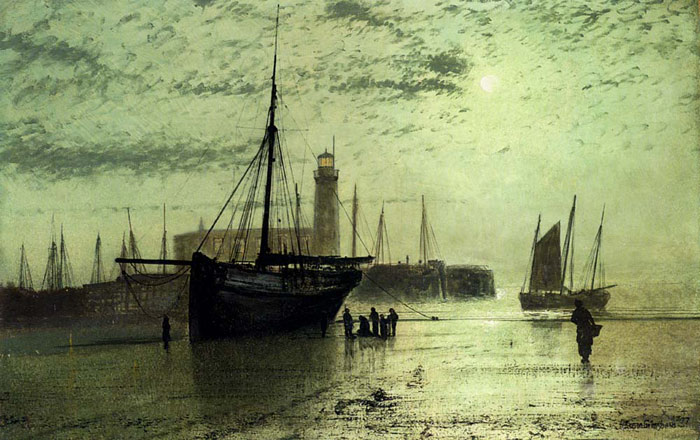 John Atkinson Grimshaw Reproductions-The Lighthouse At Scarborough, 1877