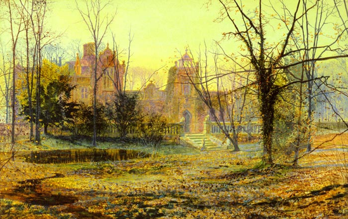 John Atkinson Grimshaw Reproductions-Evening, Knostrop Old Hall, 1870