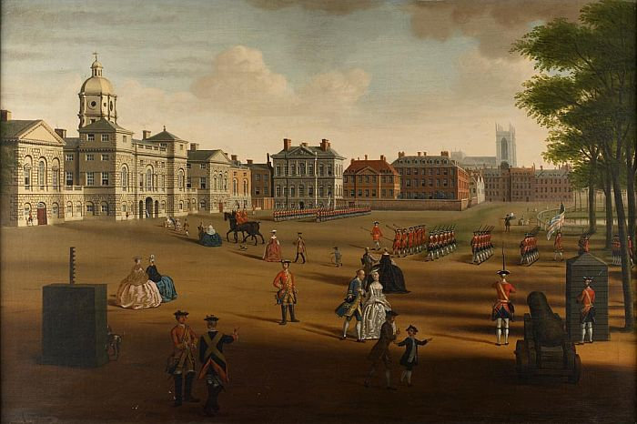 Custom PaintingsReproductions-The 2nd Footguards on Parade at Horse Guards, 1755
