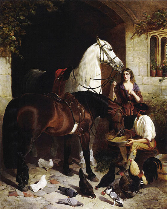 John Frederick Herring Snr Reproductions-Feeding the Arab