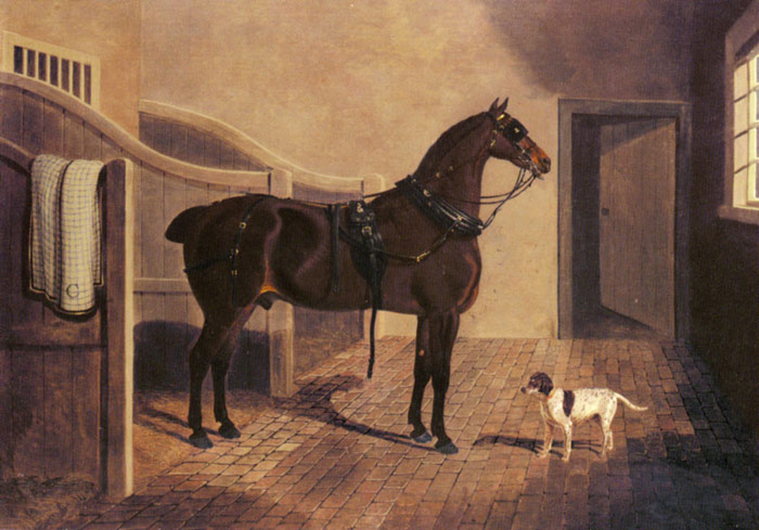 John Frederick Herring Snr Reproductions-A Favorite Coach Horse and Dog in a Stable, 1822
