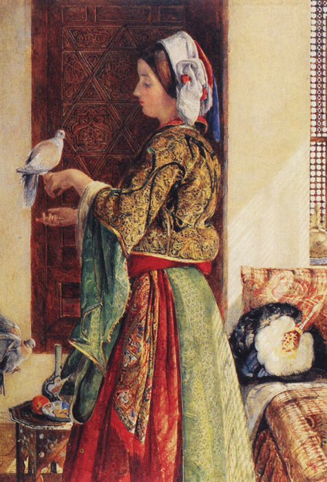 John Frederick Lewis Reproductions-Girl with Two Caged Doves