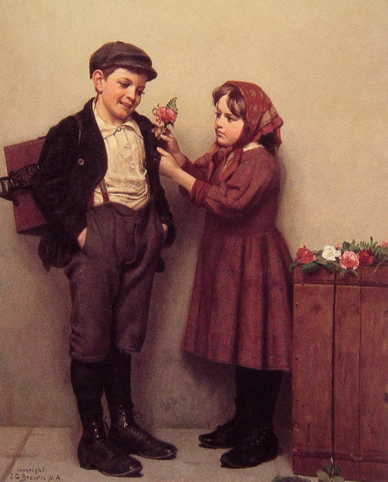 John George Brown Reproductions-The Button Hole Posy,  c.1894