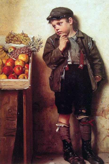 Paintings Reproductions Brown, John George Eyeing the Fruit Stand, , 1884