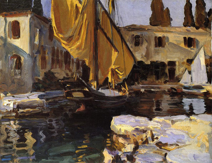 Paintings Reproductions Sargent, John Singer Boat with The Golden Sail, San Vigilio,1913