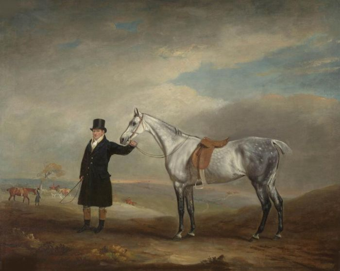 Paintings Reproductions Ferneley, John Snr. Lord Herbert's grey mare held by a groom, with a hunt beyond, 1816