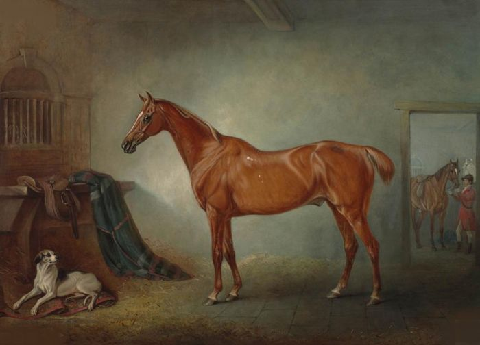 John Ferneley Reproductions-Lord Henry Bentinck's chestnut hunter 'Firebird', and 'Policy', a foxhound,in a loose box , 1845