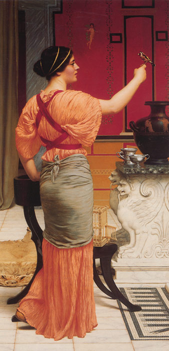 John William Godward Reproductions-Lesbia with her Sparrow, 1916