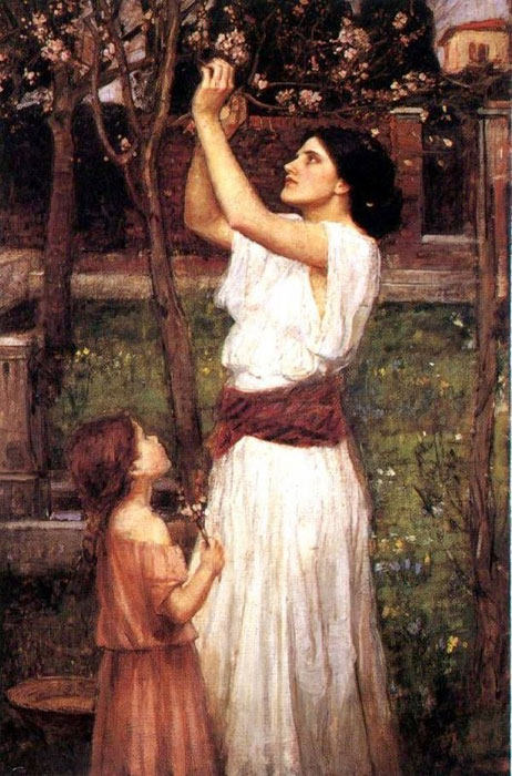 Paintings Reproductions Waterhouse, John William Gathering Almond Blossoms, 1916