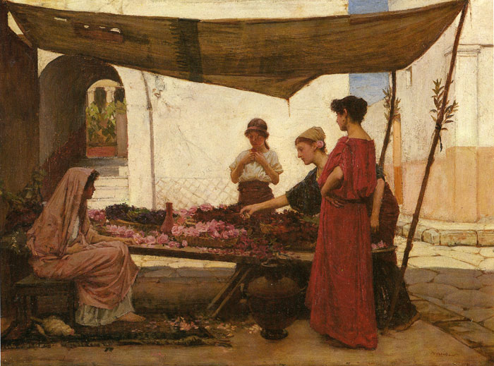 John William Waterhouse Reproductions-A Grecian Flower Market, 1880