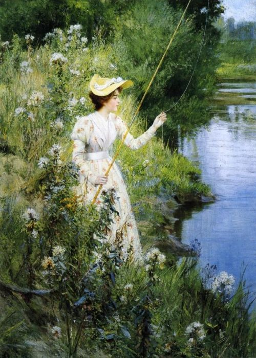 Paintings Reproductions Jones, Francis Coates The Gentle Angler , 1895