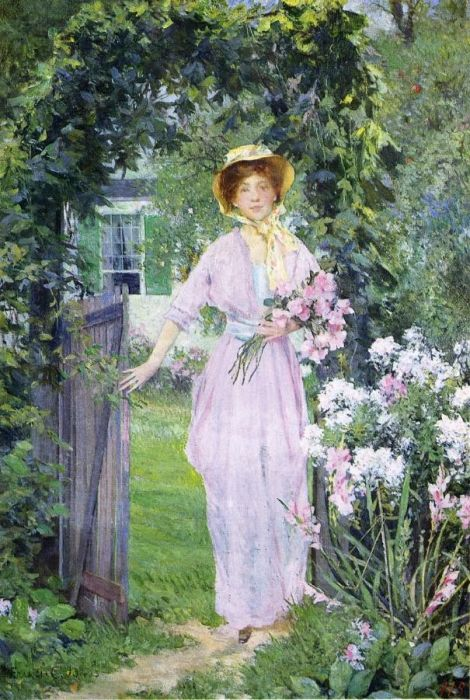 Paintings Reproductions Jones, Francis Coates Young Woman in the Garden