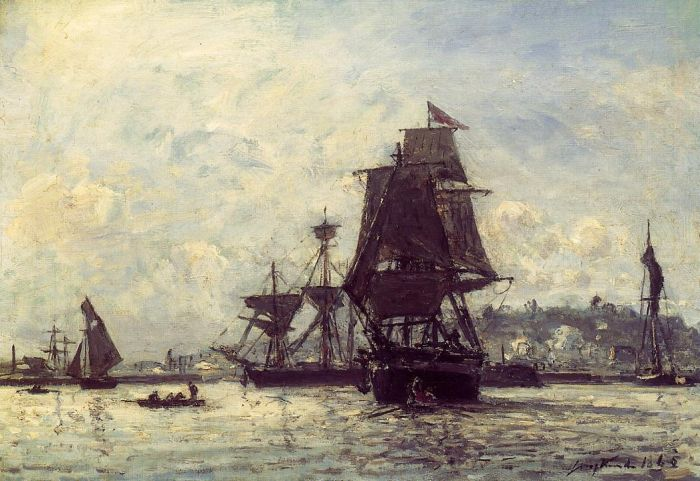 Paintings Reproductions Jongkind, Johan Barthold Sailing Ships at Honfleur, 1865