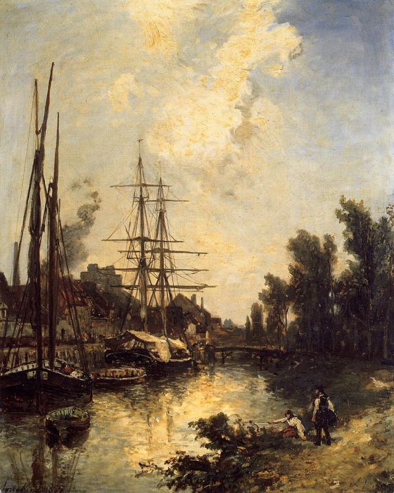 Paintings Reproductions Jongkind, Johan Barthold Boats Dockside, 1855