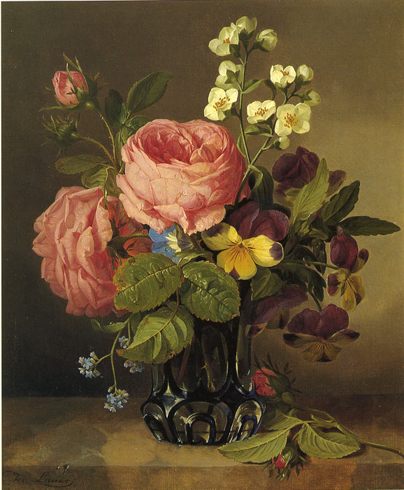 Paintings Reproductions Lauer, Josef Stilleben mit Blumen, 1850