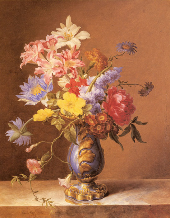 Flowers In A Blue Vase Oil Painting Reproduction