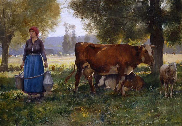 Paintings Reproductions Dupre, Julien Laitiere [Milkmaid]