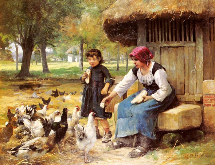 Paintings Reproductions Dupre, Julien Feeding Time