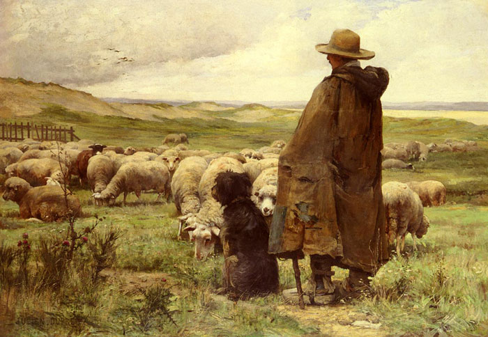 Paintings Reproductions Dupre, Julien Le Berger [The Shepherd]