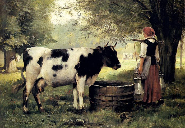 Paintings Reproductions Dupre, Julien The Milkmaid