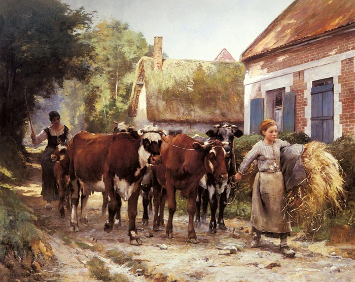Paintings Reproductions Dupre, Julien Returning from the Fields, 1895