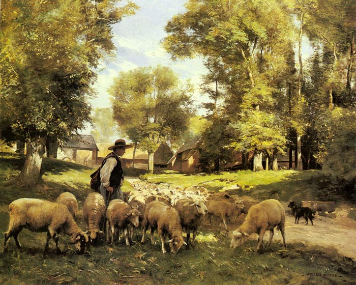 Julien Dupre Reproductions-A Shepherd and his Flock