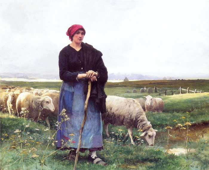 Julien Dupre Reproductions-A Shepherdess with her flock