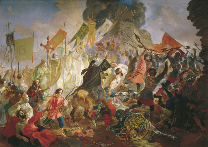 Karl Pavlovich Brullov Reproductions-The Battle of Polish King  Steven Batoriem in 1581, 1843