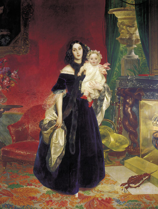 Karl Pavlovich Brullov Reproductions-Portrait of Maria Arkadevna Beck with Her Daughter, 1840