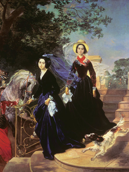 Paintings Reproductions Brullov, Karl Pavlovich Portrait of Sisters Alexandra Shishmareva and Olga Shishmreva, 1839