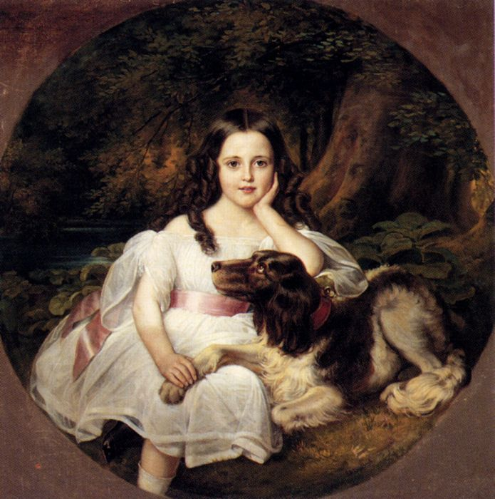 Paintings Reproductions Kaulbach, Friedrich August von  A Young Girl Resting In A Landscape With Her Dog