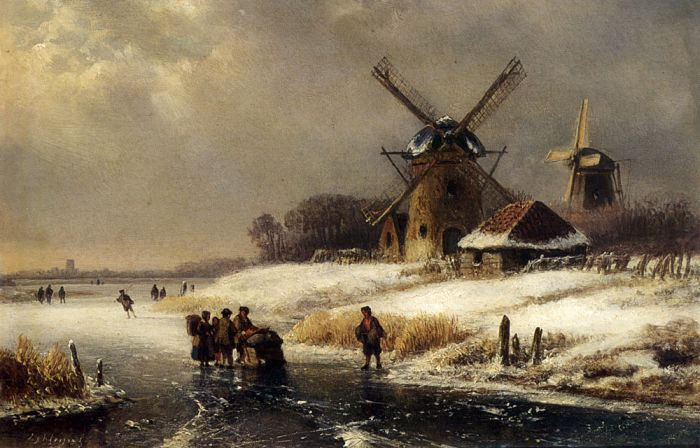Paintings Reproductions Klein, Lodewijk Johannes Figures On A Frozen Waterway By A Windmill