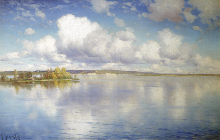 Paintings Reproductions Kryzhitskii, Konstantin Iakovlev A Lake. 1896