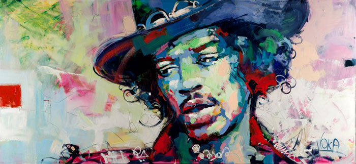 Custom PaintingsReproductions-Jimi Hendrix with Hat