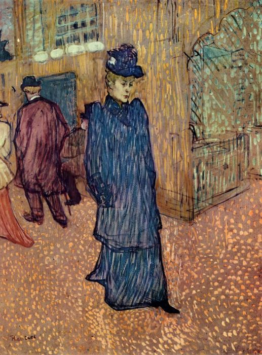 Henri de Toulouse- Lautrec Reproductions-Jane Avril Leaving the Moulin Rouge, 1892