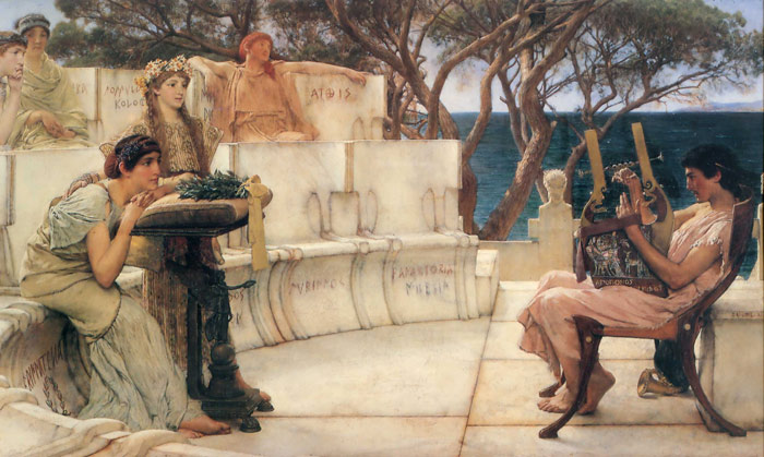 Sir Lawrence Alma-Tadema Reproductions-Sappho and Alcaeus, 1881