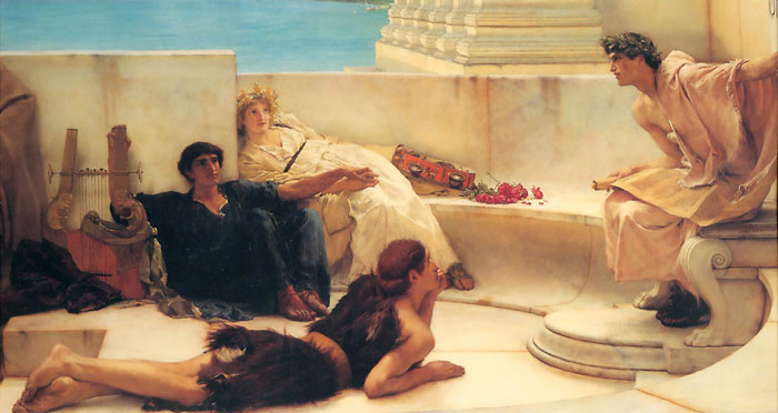 Paintings Reproductions Alma-Tadema,Sir Lawrence A Reading from Homer, 1885