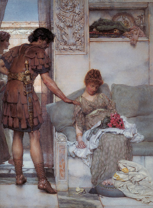 Paintings Reproductions Alma-Tadema,Sir Lawrence A Silent Greeting, 1889